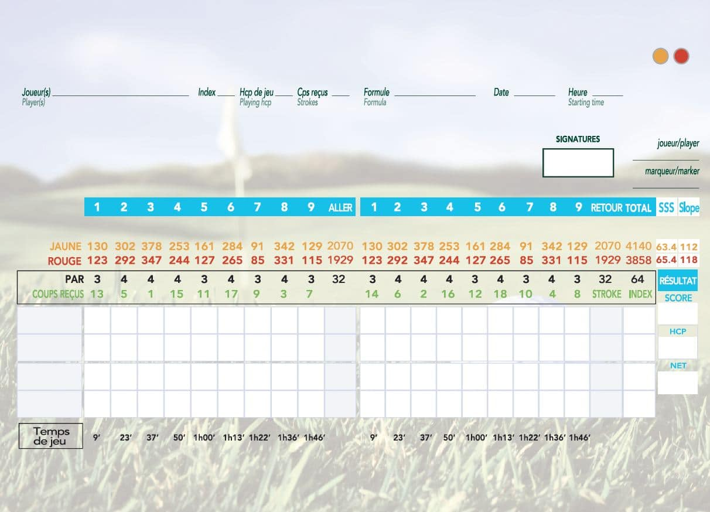 Carte de score Golf le Croisic