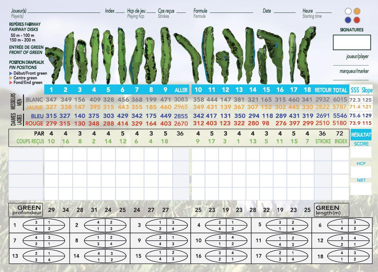 Carte de score Golf Bordeaux-Lac