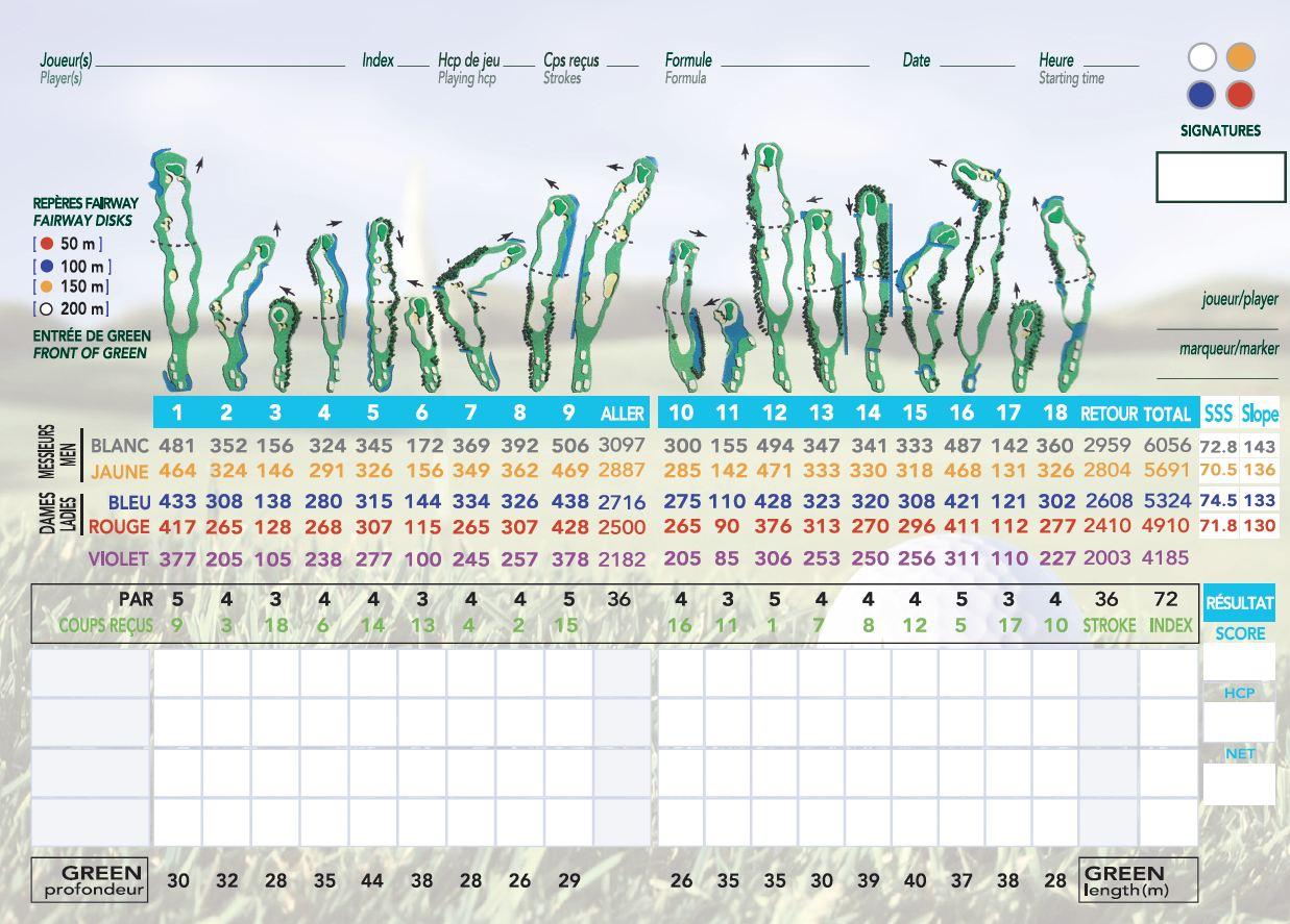 Carte de score Golf Pessac
