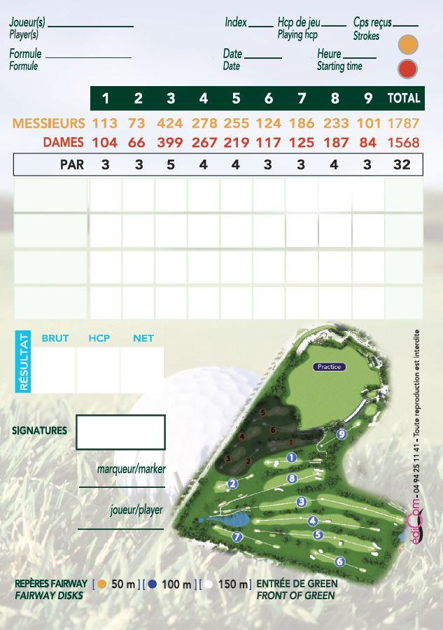 Carte de score 9 trous golf Saint-Aubin