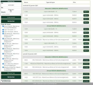 Réservation cours en ligne